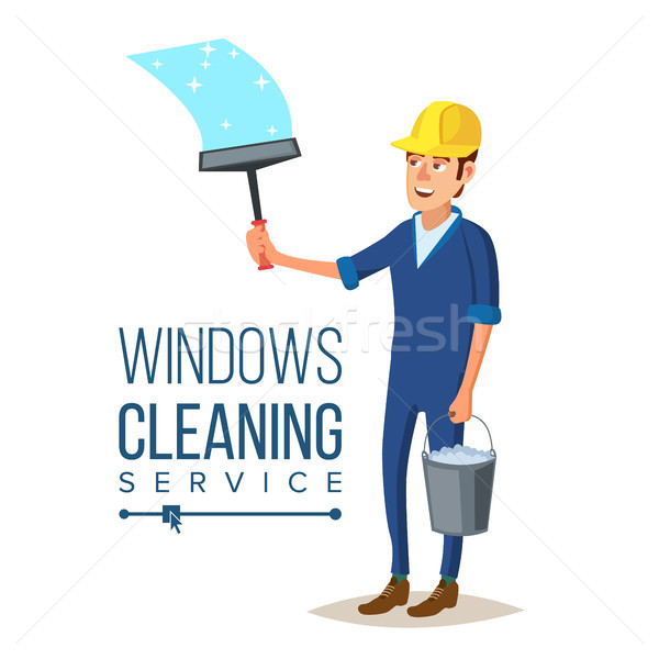 Skyscraper Cleaning Service Vector. Man With Bucket Of Water And Scraper. Professional Worker Cleani Stock photo © pikepicture