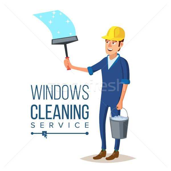 Foto stock: Arranha-céu · limpeza · serviço · vetor · homem · balde
