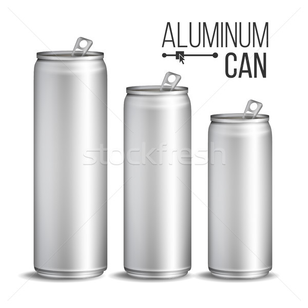 Aluminium Cans Vector. Silver Can. Branding Design. Blank Can Beer Of Soft Drink. Isolated Illustrat Stock photo © pikepicture