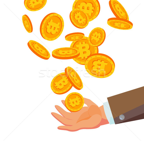 Bitcoins Falling To Business Hand Vector. Flat, Cartoon Gold Coins Illustration. Cryptography Financ Stock photo © pikepicture