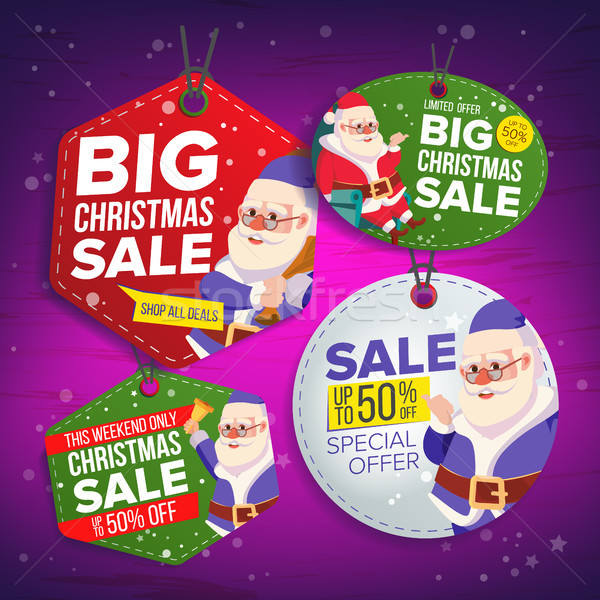 Christmas Sale Tags Vector. Flat Christmas Special Offer Stickers. Santa Claus. Hanging Sale Banners Stock photo © pikepicture
