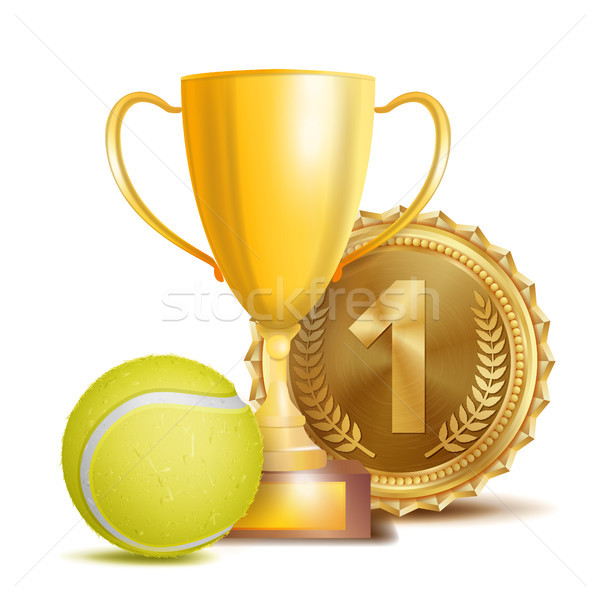 Tennis Award Vector. Sport Banner Background. Yellow Ball, Gold Winner Trophy Cup, Golden 1st Place  Stock photo © pikepicture