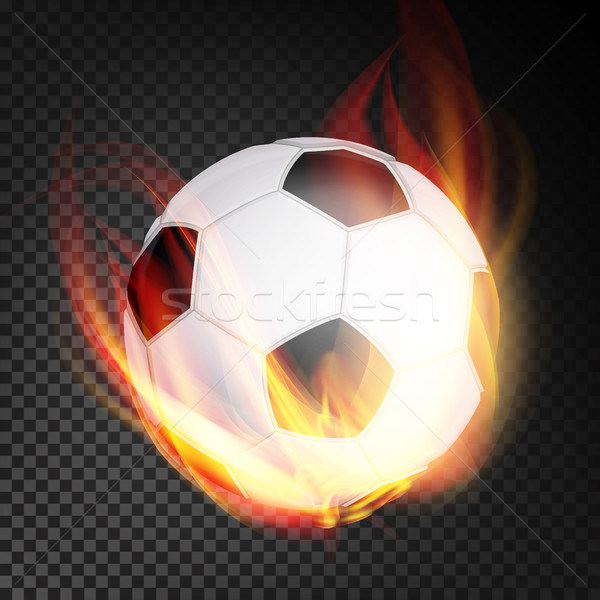 Football Ball Vector Realistic. Football Soccer Ball In Burning Style Isolated On Transparent Backgr Stock photo © pikepicture