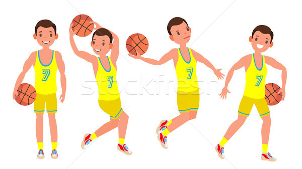 Classic Basketball Player Man Vector. Sports Concept. Different Poses. Sport Game Competition. Flat  Stock photo © pikepicture