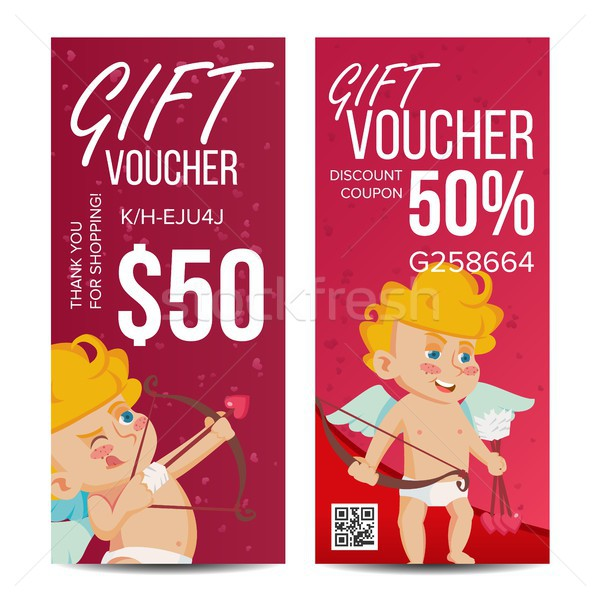 Valentine s Day Gift Voucher Vector. Vertical Coupon. February 14. Valentine Cupid And Gifts. Shoppi Stock photo © pikepicture