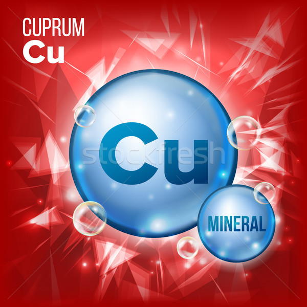 Cu Cuprum Vector. Mineral Blue Pill Icon. Vitamin Capsule Pill Icon. Substance For Beauty, Cosmetic, Stock photo © pikepicture