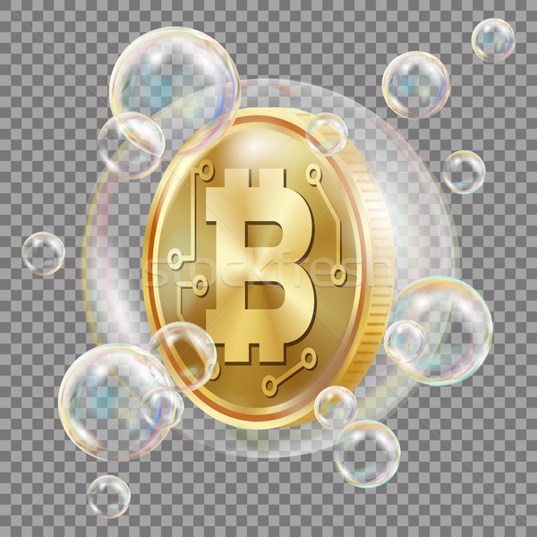 Bitcoin In Soap Bubble Vector. Investment Risk. Bitcoin Crash Digital Money. Crypto Currency Market. Stock photo © pikepicture