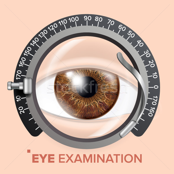 Eye Test Banner Vector. Clinic Consultation. Optometrist Check. Medical Background Illustration Stock photo © pikepicture
