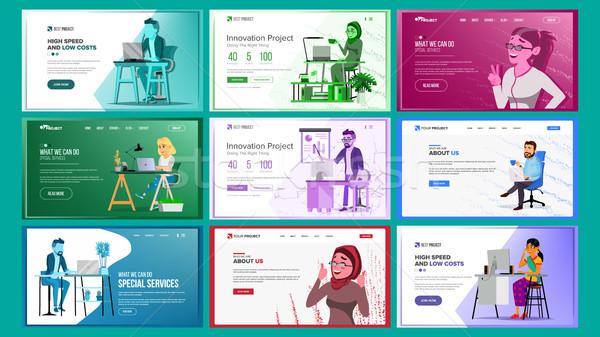 Projektowanie stron internetowych szablon zestaw wektora działalności projektu Zdjęcia stock © pikepicture