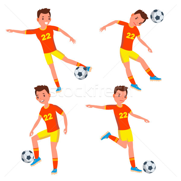 Soccer Young Man Player Vector. Man. Modern Championship. Kick. Flat Athlete Cartoon Illustration Stock photo © pikepicture