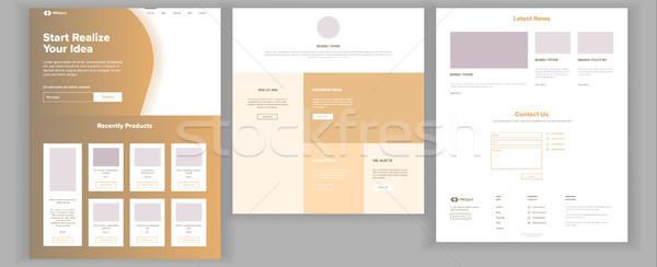 Website Design Template Vector. Business Landing. Web Page. IT Technology. Optimization Progress. Bl Stock photo © pikepicture