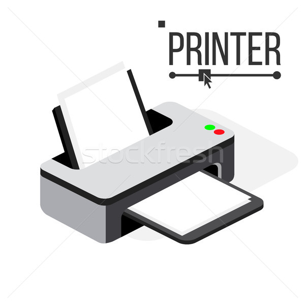 Printer Icon Vector. Modern Office Ink, Laser Printer. Isometric Isolated Illustration Stock photo © pikepicture