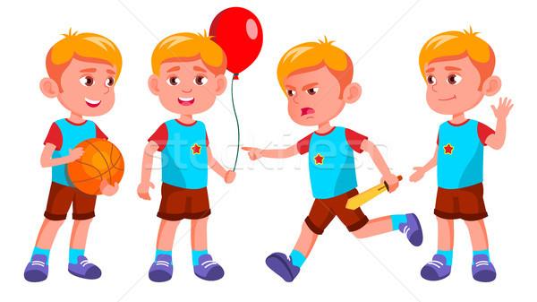 Boy Kindergarten Kid Poses Set Vector. Little Children. Happiness Enjoyment. For Web, Brochure, Post Stock photo © pikepicture