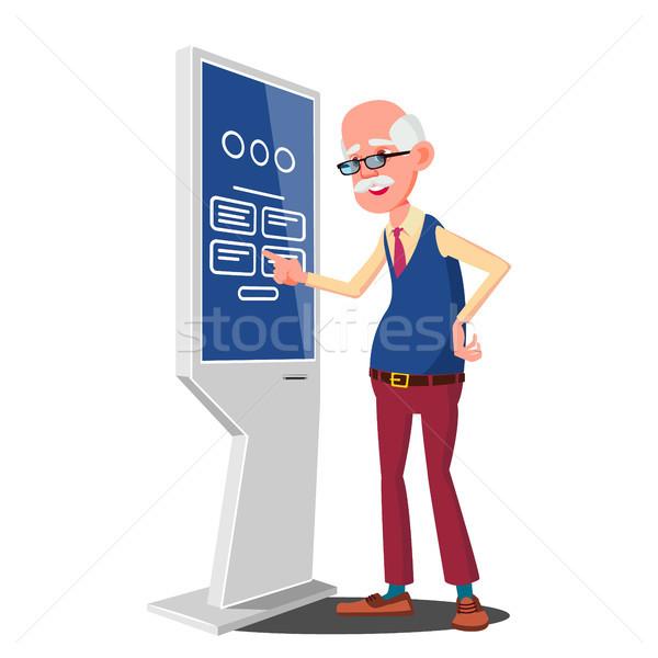 Stock photo: Old Man Using ATM Machine, Digital Terminal Vector. Digital Kiosk LED Display. Self Service Informat