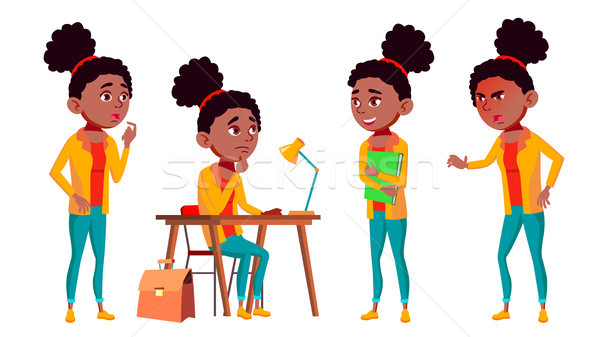 Teen Girl Poses Set Vector. Cute, Comic. Black. Afro American. Joy. For Postcard, Announcement, Cove Stock photo © pikepicture