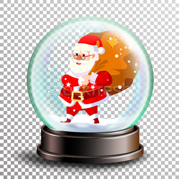 Christmas Snowglobe Vector. Cute Santa Claus With Gifts. Sphere Ball. Crystal Glass Empty Ball. Tran Stock photo © pikepicture