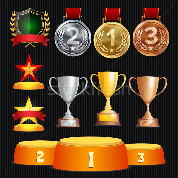 Stock photo: Vector Awards And Trophies Collection. Golden Badges And Labels. Championship Design. 1st, 2nd, 3rd