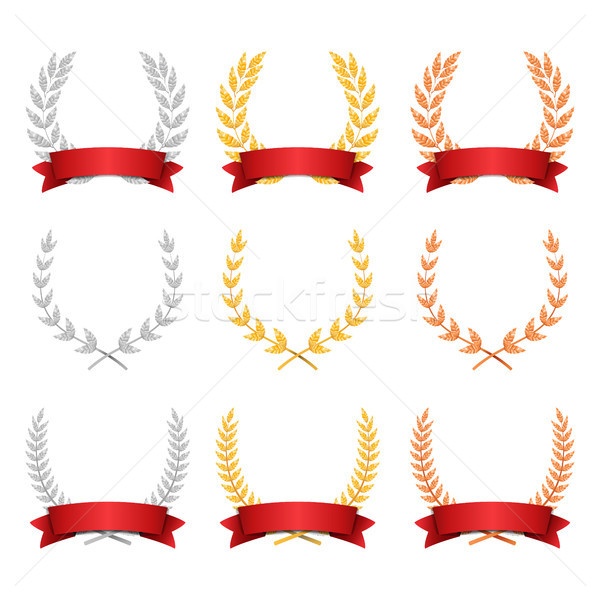 Laurel Wreath Trophy Set Vector. Award Placement Achievement. Realistic Gold Silver Bronze Laurel Wr Stock photo © pikepicture
