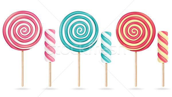 Round Pink Lollipop Set Vector. Cream Marshmallow On Stick. Sweet Realistic Candy Spiral Isolated Il Stock photo © pikepicture