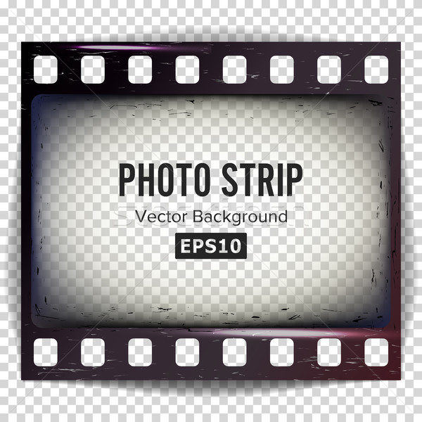 Stock photo: Photo Strip Vector. Realistic Empty Frame Strip Blank. Grunge Scratched Template Isolated On White B