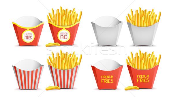 フライドポテト セット ベクトル 紙袋 おいしい ストックフォト © pikepicture