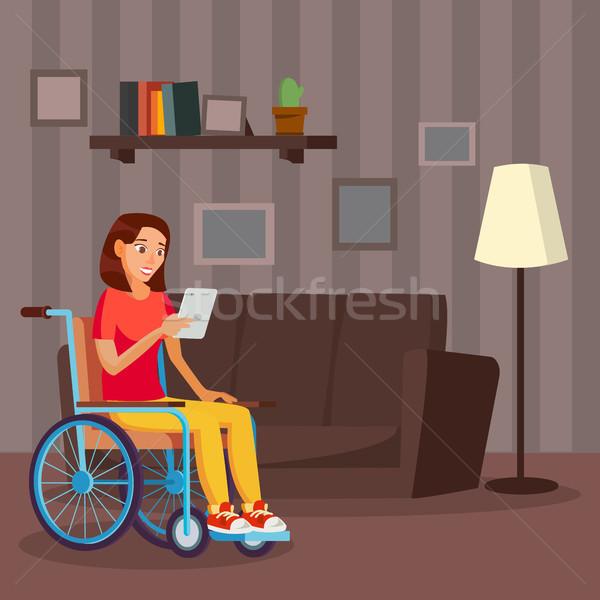 Photo stock: Handicapées · femme · vecteur · vie · handicap · souriant