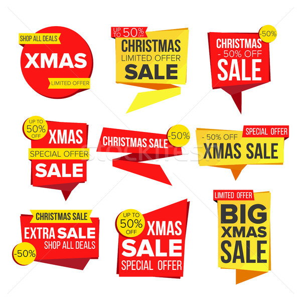 Christmas Sale Banner Collection Vector. Online Shopping. Winter Website Stickers, Holidays Web Desi Stock photo © pikepicture