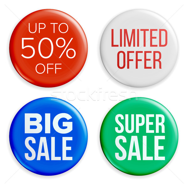 Sale Badges Set Vector. Discount Special Offer Symbols. Product Promotion Isolated Illustration Stock photo © pikepicture