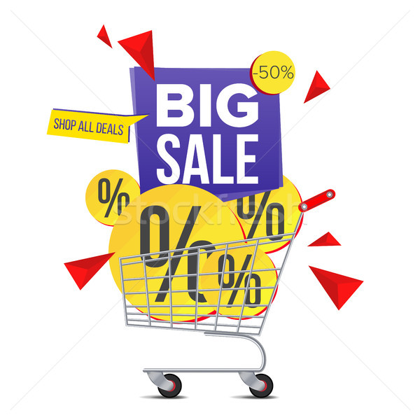 Shopping Cart Sale Poster Vector. Isolated Illustration Stock photo © pikepicture