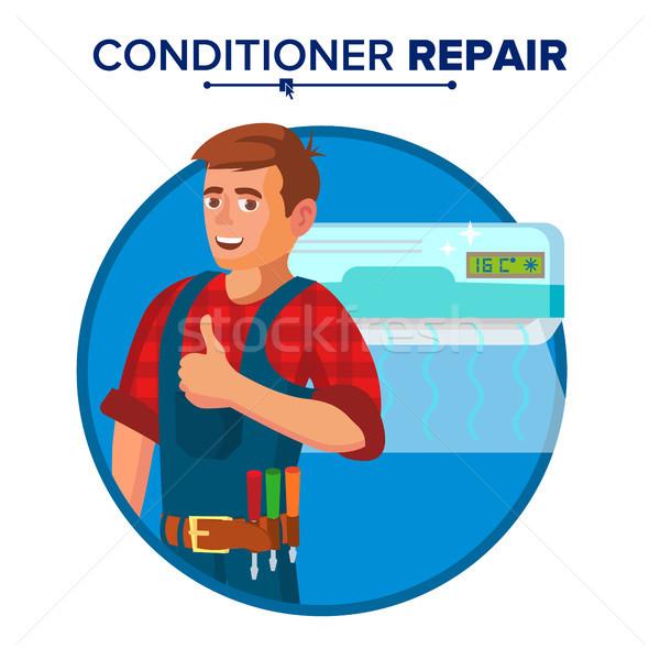Klimatyzator naprawy usługi wektora technik Zdjęcia stock © pikepicture