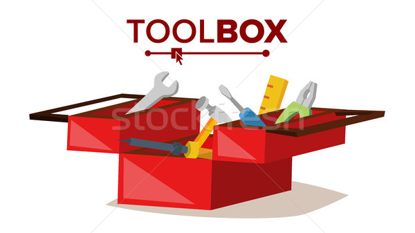 Red Classic Toolbox Vector. Full Of Equipment. Flat Cartoon Isolated Illustration Stock photo © pikepicture