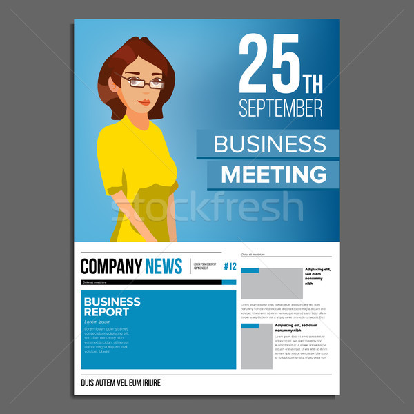 Business Meeting Poster Vector. Business Woman. Invitation And Date. Conference Template. A4 Size. C Stock photo © pikepicture