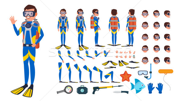 Diver Man Vector. Animated Character Creation Set. Under Water. Scuba Diver. Snorkeling Diving. Full Stock photo © pikepicture