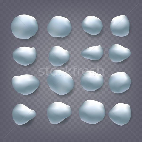 Snowballs Set Vector. Snowballs, Snowdrift. New Year Winter Ice Element. Realistic Snow Caps. Isolat Stock photo © pikepicture