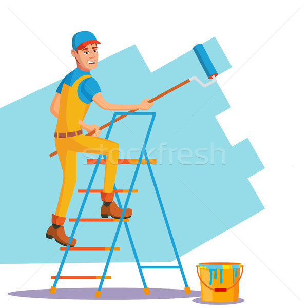 Professional Painter Vector. Painting Brush, Roller. Craftsman Painting Wall. Flat Cartoon Illustrat Stock photo © pikepicture