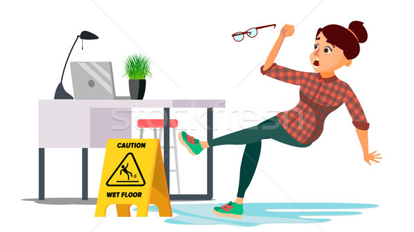 Woman Slips On Wet Floor Vector. Caution Sign. Isolated Flat Cartoon Character Illustration Stock photo © pikepicture