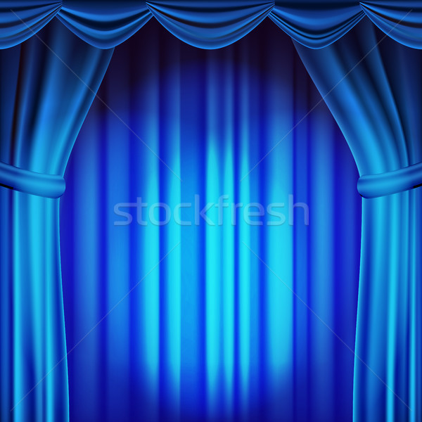 Blue Theater Curtain Vector. Theater, Opera Or Cinema Scene. Empty Silk Stage, Blue Scene. Realistic Stock photo © pikepicture