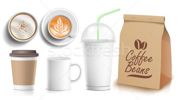 Stok fotoğraf: Kahve · paketleme · şablon · dizayn · vektör · beyaz