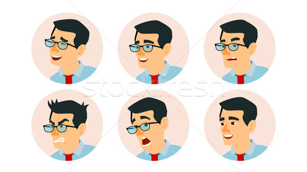 Asian Character Business People Avatar Vector. Asiatic Man Face, Emotions Set. Creative Avatar Place Stock photo © pikepicture