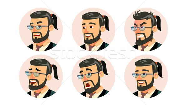 Boss CEO Character Business People Avatar Vector. Modern Office Bearded Boss Man Face, Emotions Set. Stock photo © pikepicture