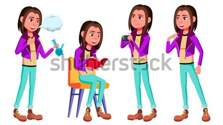 Freelancer Worker Vector. Woman. Modern Employee, Laborer. Home Worker. Face Emotions, Various Gestu Stock photo © pikepicture
