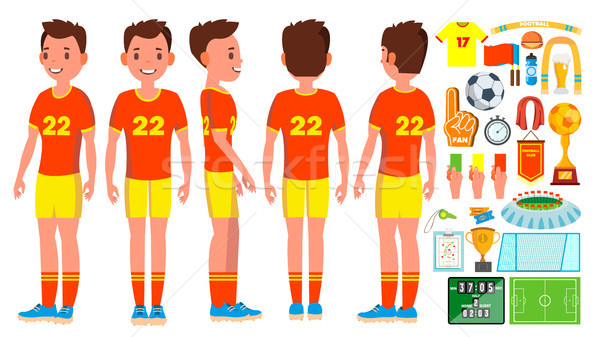 Soccer Player Male Vector. Football Action. Match Tournament. Isolated Flat Cartoon Character Illust Stock photo © pikepicture