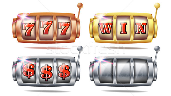Slot Machine Set Vector. 777. Bingo Background Design. Spin Wheel. Fortune Jackpot. Golden, Silver,  Stock photo © pikepicture