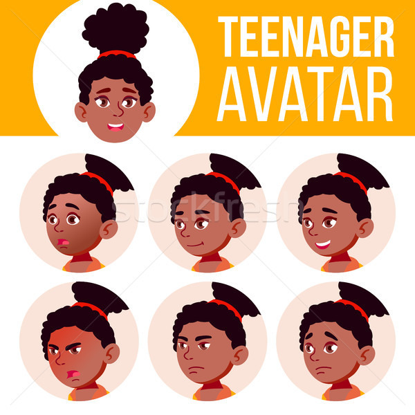 Teen Girl Avatar Set Vector. Black. Afro American. Face Emotions. Facial, People. Active, Joy. Carto Stock photo © pikepicture