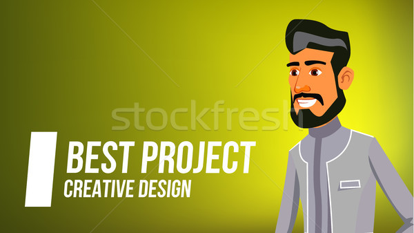 Arab Man Banner Vector. Young Saudi Arabic Man. Middle Eastern People. For Postcard, Announcement, C Stock photo © pikepicture