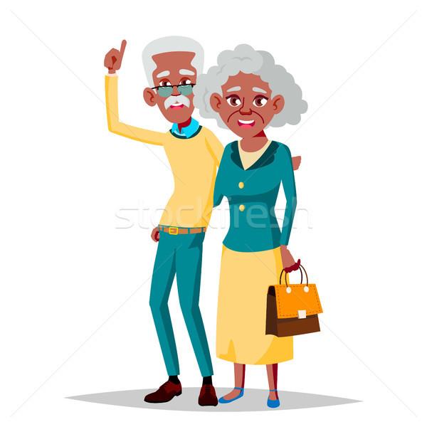 Starszych para wektora dziadek babcia czarny Zdjęcia stock © pikepicture