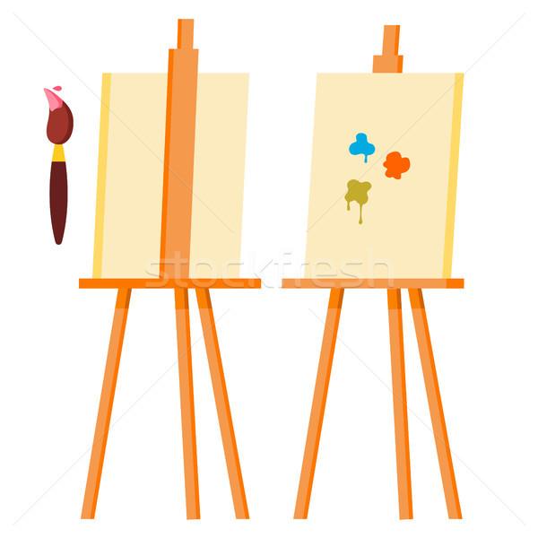 Festőállvány vektor festmény művészet ikon szimbólum Stock fotó © pikepicture