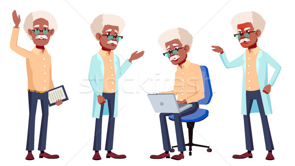 Old Man Poses Set Vector. Black. Afro American. Elderly People. Senior Person. Aged. Isolated Cartoo Stock photo © pikepicture