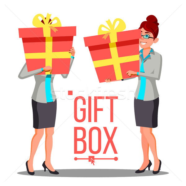 Business Woman Holding Red Gift Box Vetor. Holidays Present Concept. Isolated Illustration Stock photo © pikepicture