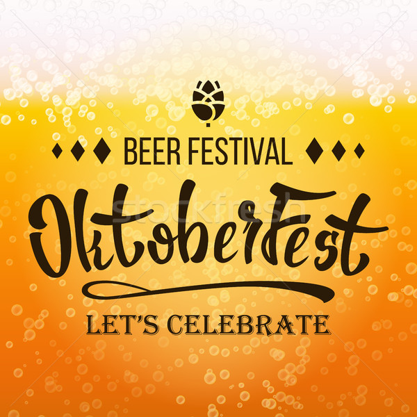 Stock photo: Oktoberfest Beer Festival Vector. Close Up Beer With Foam And Bubbles. Modern Celebration Design.
